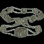 """Antique Japanese Dragon Flower Belt  Sterling Silver   39"""""""