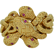 Puzzle Quadruple Serpent Snake Ring in 14K with Ruby Eyes