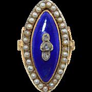 Georgian 14K Enamel Pearl & Rose Cut Diamond Ring
