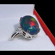 14K White Gold 4 Carat Ethiopian Opal & Diamond Ring