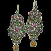 Lengthy Sterling Silver & Paste Victorian Earrings