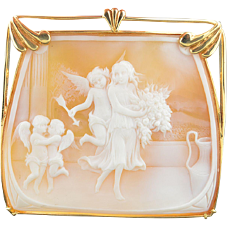 Amazing 14K Large Square Shell Angel Cameo Cherubs & Cupids Pendant - Brooch