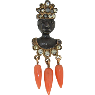 Antique 18K & Sterling Silver Blackamoor Nubian King Stick Pin with Coral
