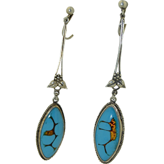 Art Nouveau Sterling Silver Art Glass Dangle Earrings in the Manner of Bernard Instone