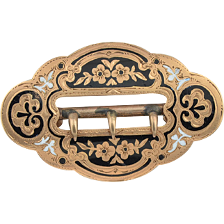 14K Victorian Enamel Belt Pin.  13.5 grams