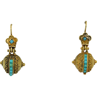 18K & 14K Victorian Etruscan Earrings with Turquoise