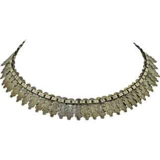 Victorian Sterling Silver Etched Collar Necklace