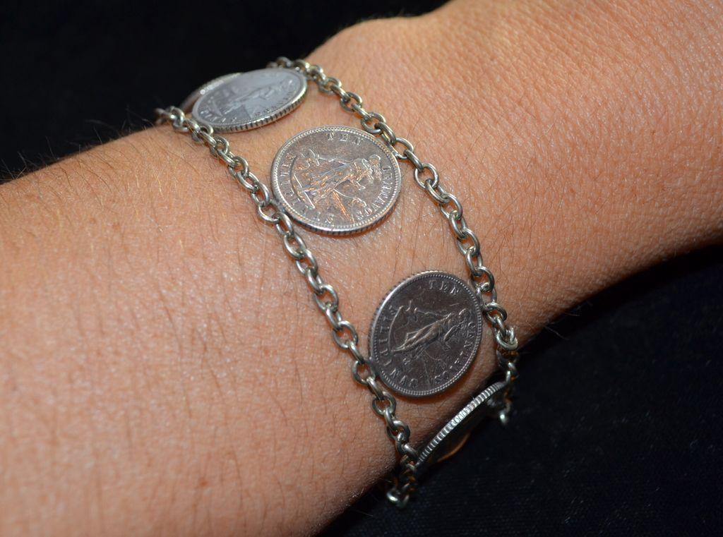 1904s Dime Ten Cent Sterling Silver Coin Bracelet