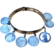 Victorian Love Token Sterling Silver Coin Bracelet