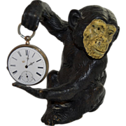 Figural Bronze Monkey Watch Holder