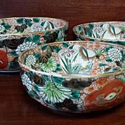 3 - Antique Japanese Nesting Bowls Circa 1890