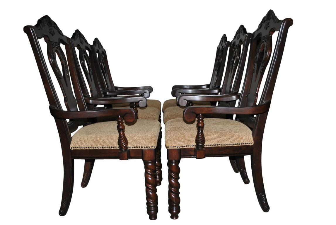 6 heavy duty dining chairs armchairs carved dark