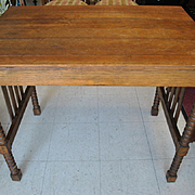 Antique Mission Arts & Crafts Library Table, Writing Desk, Spool Legs Ca 1910