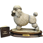 "Adorable Guiseppe Armani Grey Teacup Poodle Dog Sculpture, 8""H"