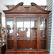 Flaming Mahogany Serpentine Front Breakfront China Cabinet