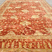 Monumental Oushak Hand Knotted Rug, Terra Cotta, Gold, Same Border 12 ft x 18 ft
