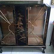 Antique Asian Style Ball & Claw Foot Curio Display Cabinet Chinoisserie