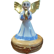 "Limoges Angel Playing Harp Box, 24K, 2.5""H"
