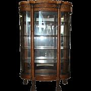 "Antique Golden Oak Era Bow Front Curio China Cabinet, 72""H, Ca 1890"