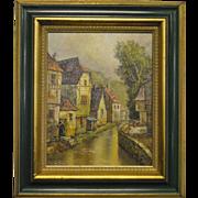 """Original Oil On Canvas, Framed, Small Village, River, 9.5"""" x 12"""" Signed Bagheri"""