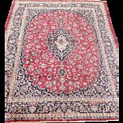 Spectacular Large Antique Handmade Persian Mashad Rug, Signed, Wool, Burgundy, Blues, Tan, 9' x 12'