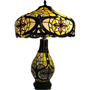 """Beautiful Tiffany Style Stained Glass Table Lamp, 27.5""""H"""