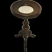 "Antique Victorian Renaissance Walnut Round Marble Top Pedestal, Hoof Feet, 30""H, Ca 1850"