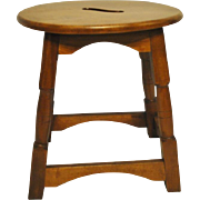 """Antique Joined Stool, Joint Stoole Maple, 16.5""""D x 13.5""""W x 18""""H"""