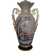"Vintage Lovely Large Hand Painted Vase, Amphora, with Handles, 16.5""H"