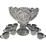 Antique Victorian Pressed Glass Punch Bowl Set with 12 Cups
