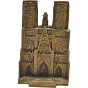 "Rare Cast Iron Reims Cathedral Bookend 6"" High"