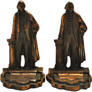 "Antique Copper George Washington Figurine Bookends 6""H"