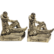 "Whimsical Pair of Antique Pierrot Clown Bookends, Silver Tone 5""H"