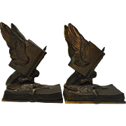 "Antique Bookends ""Thoughts on Wings"" Jennings Brothers JB 1478 6.75""H"