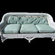 Rare 3 Piece Heywood Wakefield White Wicker Sofa & Chair Set