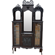 """Antique Mahogany Rococo Etagere Curio Cabinet, 85""""H Ca 1880"""