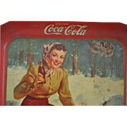 "Vintage 1941 Coca-Cola Tin Tray with Ice Skater 13.25""L"