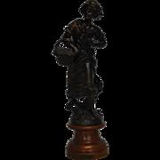 "Antique Bronze Statue with Wooden Base ""La Museque"" 18.25""H"