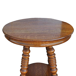 Antique Solid Tiger Oak Round Spool Leg Side Table Ca 1890