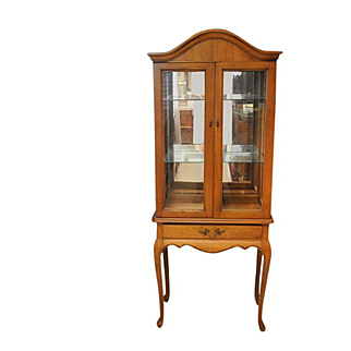 "Beautiful Petite French Style Vitrine, China Display Cabinet 68.5""H"