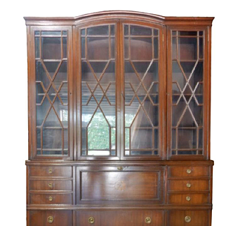 "Federal Style Breakfront Secretary 4 Door Mahogany China Cabinet 85""H"