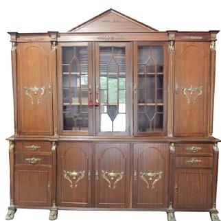 "Huge NeoClassic Mahogany Breakfront China Cabinet, Ormolu, 92""W x 92""H"