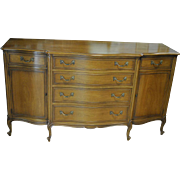 "Vintage Drexel Buffet, Sideboard Touraine, French Provincial Walnut, 64""W x 35""H"