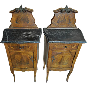 "Antique French Rococo Side Cabinets, Inlaid Marquetry, 43.75""H"
