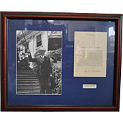 Authentic Signed Letter with Photograph of Harry S Truman Citation Medal of Freedom
