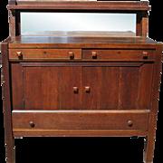 "Antique Tiger Oak Mission Style Sideboard Buffet 46""W Ca. 1900"