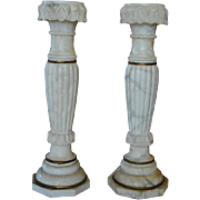 "Pair of Antique Romanesque Italian Marble Column Pedestals 35""H"