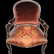 "Oversize Antique French Velvet, Silk Brocade Louis XV Armchairs 42""H"