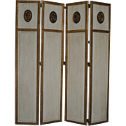 """Exquisite French Cream Gold Gilt Dressing Screen 59"""" H"""