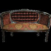 "Antique Sheraton Round Back Tufted Mahogany Velvet, Silk Settee 58""W"